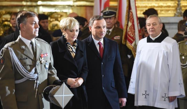President Andrzej Duda (2P) with First Lady Agata Kornhauser-Duda (2L). Photo: PAP/Radek Pietruszka