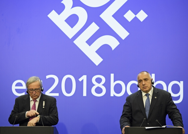 Очільник Європейської комісії Жан-Клод Юнкер (ліворуч) та прем'єр-міністр Болгарії Бойко Борисов (праворуч)