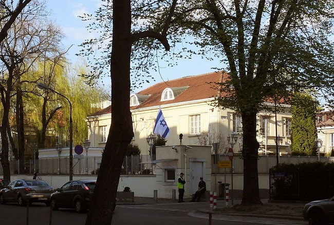 Israeli embassy in Warsaw. Photo: Panek [CC BY-SA 3.0 (https://creativecommons.org/licenses/by-sa/3.0)], from Wikimedia Commons