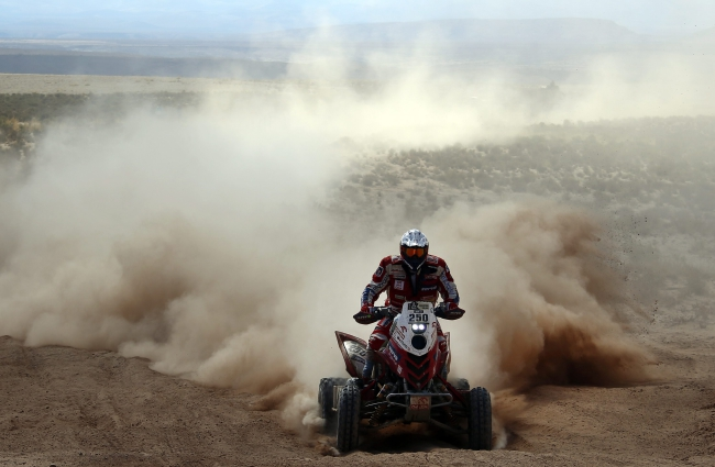 Polish quad-biker Rafal Sonik during the fifth stage of the Rally Dakar 2016 between Jujuy, Argentina, and Uyuni, Bolivia, 07 January 2016. EPA/FELIPE TRUEBA