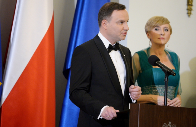 President Andrzej Duda (L) with First Lady Agata Kornhauser-Duda at the meeting with Poland's diplomatic corps on Wednesday evening. Photo: PAP/Jacek Turczyk