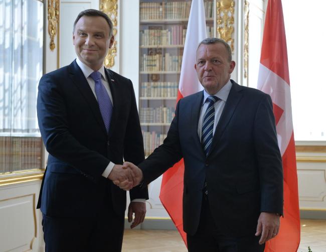 Polish President Andrzej Duda (L), Danish Prime Minister Lars Lokke Rasmussen (R). Photo: PAP/Jacek Turczyk