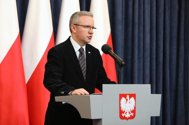 Глава Кабинета президента Кшиштоф Щерский во время конференции после встречи в Президентском дворце в Варшаве