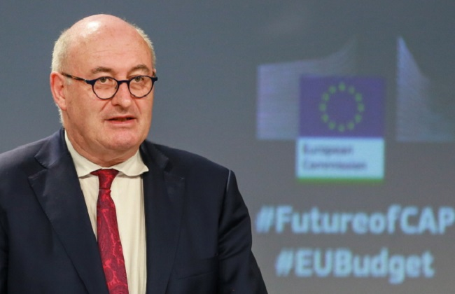 Phil Hogan, EU Commissioner for Agriculture and Rural Development, holds a press conference on Common Agricultural Policy at the European Commission in Brussels on Friday. Photo: EPA/STEPHANIE LECOCQ