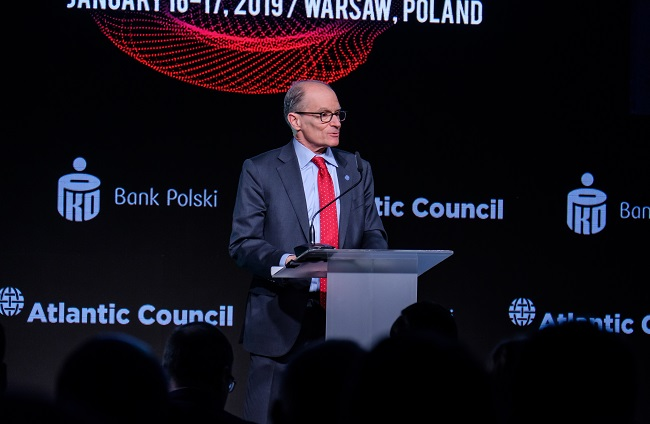 """Former US Ambassador to Poland Daniel Fried speaks at the Warsaw conference entitled """"A New Initiative for Poland: A Future Global Leader in Securing the 4th Industrial Revolution."""""""