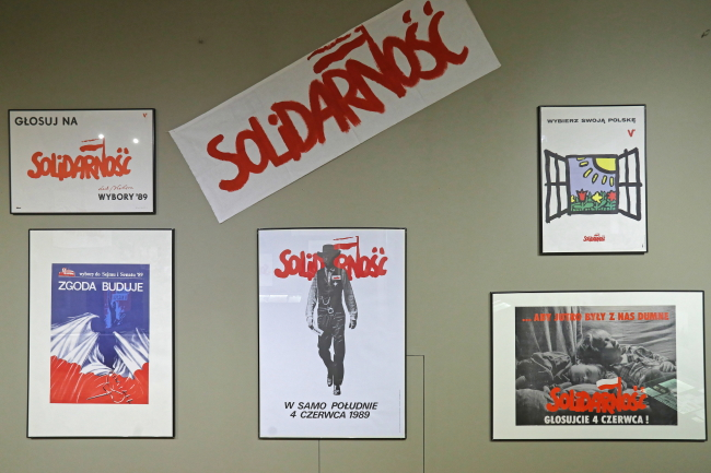 Exhibition at the History Museum in Białystok of 1989 election memorabilia, from posters and photographs to election television programmes from the time. Photo: PAP/Artur Reszko