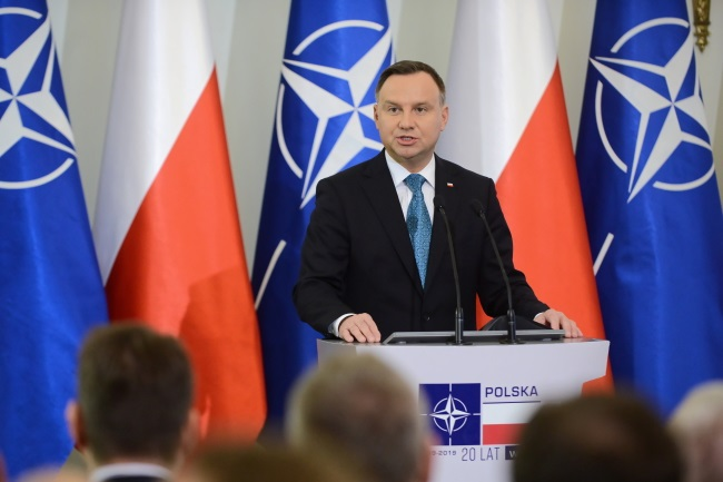 President Andrzej Duda speaks at an annual meeting of Poland's top defence policy makers and military brass at the presidential palace in Warsaw on Thursday. Photo: PAP/Jakub Kamiński