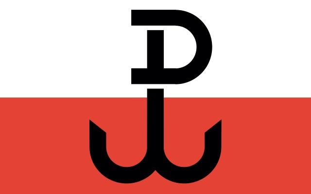 Die inoffizielle Flagge der Polnischen Heimatarmee mit der sogenannten Kotwica