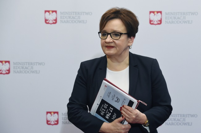 Education Minister Anna Zalewska gives a news conference in Warsaw on Monday. Photo: PAP/Radek Pietruszka