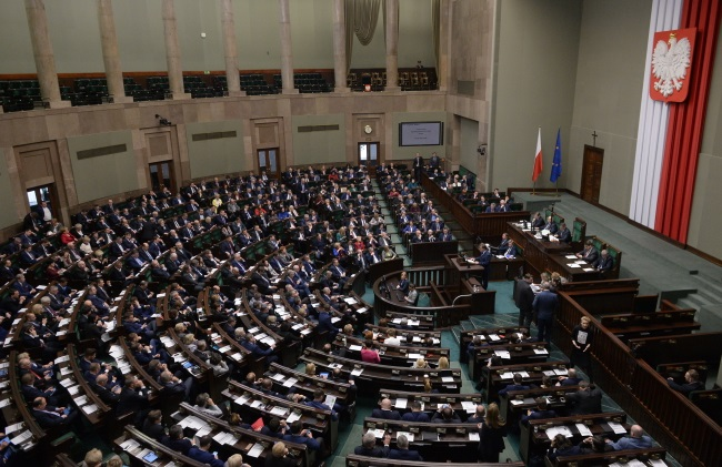 The lower house of Poland's parliament, the Sejm, in session in Warsaw on Tuesday. Photo: PAP/Marcin Obara