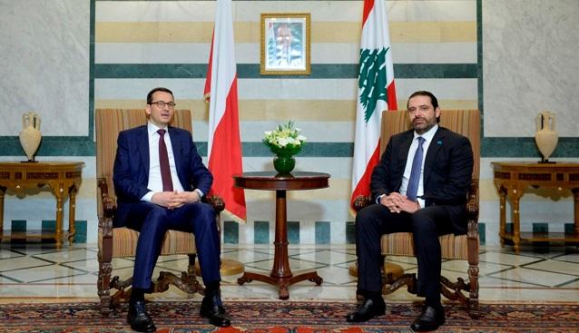 Polnischer Premierminister Mateusz Morawiecki (l) und sein libanesischer Amstkollege Saad Hariri.