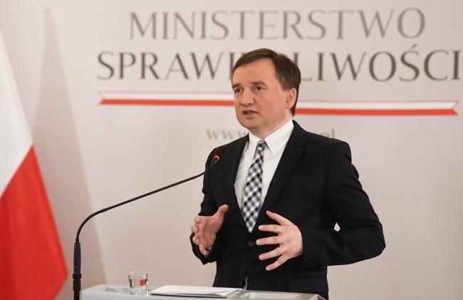 Министр юстиции, генеральный прокурор Збигнев Зебро на пресс-конференции в Варшаве