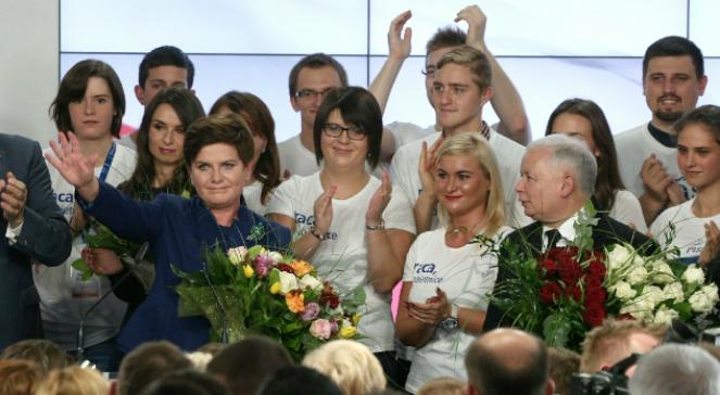 Beata Szydło (obecnie premier) i prezes PiS Jarosław Kaczyński świętują wygraną w wyborach 25.10.2015