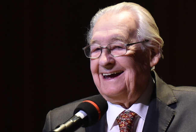 Andrzej Wajda on Sunday evening at the 90th birthday concert in his honour, ICE Kraków Congress Centre. Photo: PAP/Jacek Bednarczyk