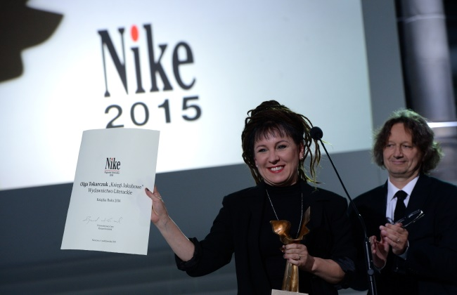 Olga Tokarczuk picked up her prize on Sunday. Photo: PAP/Jacek Turczyk