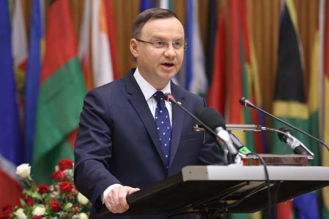 Andrzej Duda speaks at African Union Forum in Addis Ababa, Ethiopia. Photo: PAP/Leszek Szymański