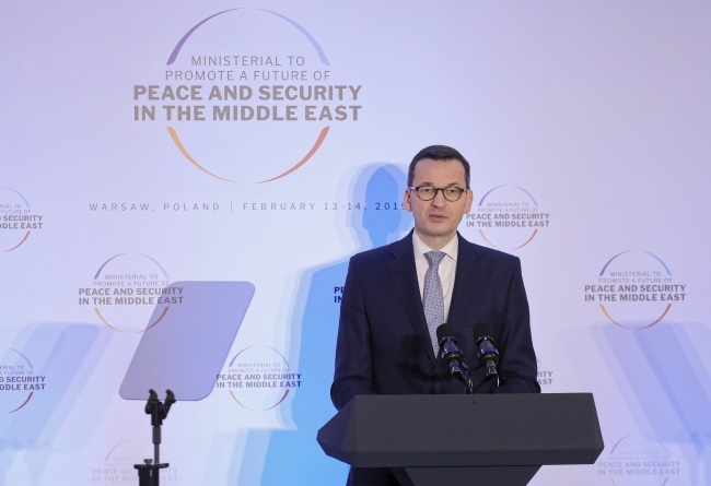 Mateusz Morawiecki speaks at the Middle East conference in Warsaw on Thursday. Photo: PAP/Paweł Supernak