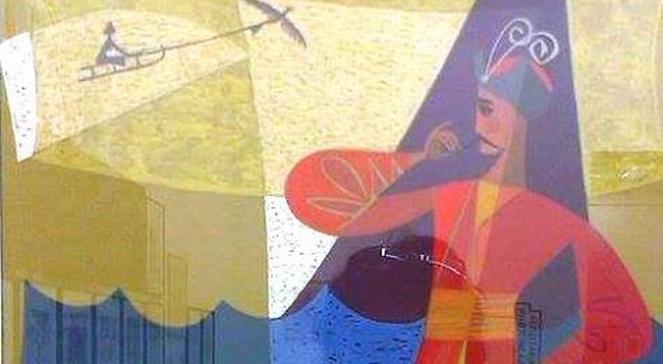 Фрагмент роботи Мирона Левицького. 1963. Папір, гуаш
