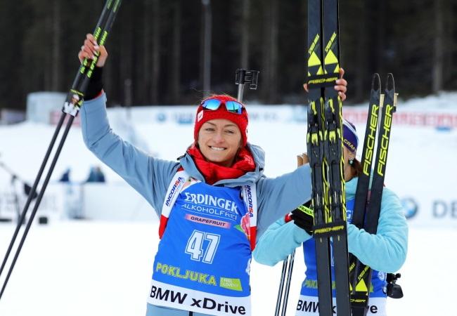 Poland's Monika Hojnisz celebrates after taking second place in the women's 15 km individual race of the Biathlon World Cup in Pokljuka, Slovenia, on Thursday. Photo: EPA/ANTONIO