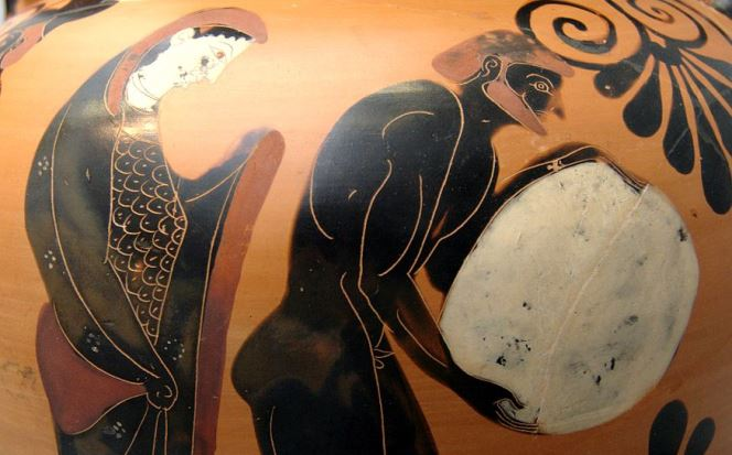 «Персефона споглядає на Сізіфа у Аїді», аттична чорнофігурна амфора, бл.530 до н.е., Staatliche Antikensammlungen[1]