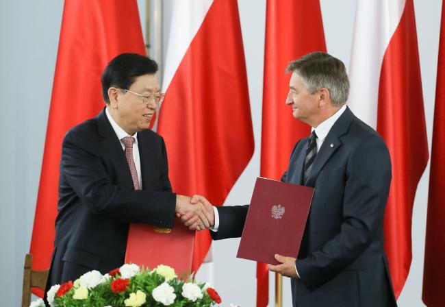 Zhang Dejiang and Marek Kuchcinski. Photo: PAP/Paweł Supernak.
