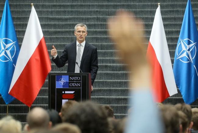 Jens Stoltenberg in Warsaw on Tuesday. Photo: PAP/Paweł Supernak