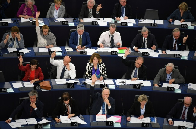 EU lawmakers vote on the new online copyright rules at the European Parliament in Strasbourg, France, on Tuesday. Photo: EPA/PATRICK SEEGER