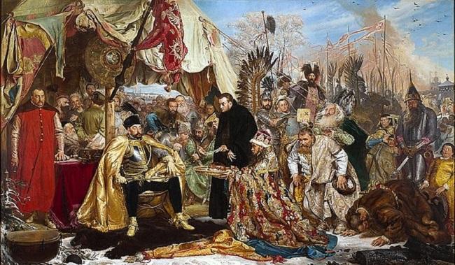 Кароль польскі й вялікі князь літоўскі Стэфан Баторы падчас аблогі Пскова (1581-1582 г.г.), карціна Яна Матэйкі