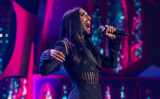 Conchita Wurst sings at the Witches' Sabbath Festival, Kielce. Photo: PAP/Michał Walczak.