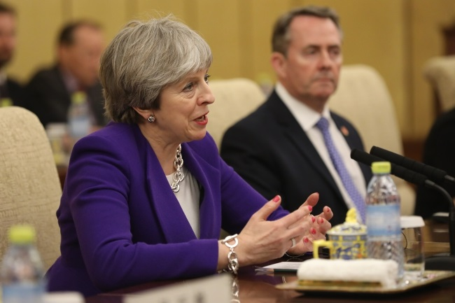 British PM Theresa May in Beijing, China, on Thursday. Photo: EPA/WU HONG