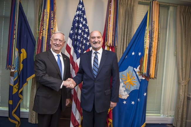Polish Defence Minister Antoni Macierewicz (right) and US Secretary of Defence James Mattis during their Washington meeting. Photo: PAP/Robert Suchy
