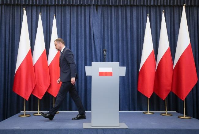 Andrzej Duda, after announcing his veto decision on Monday. Photo: PAP/Paweł Supernak