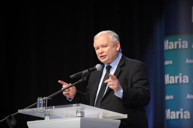 Jarosław Kaczyński speaking in  Łomza on Monday. Photo: PAP/Przemysław Piątkowski