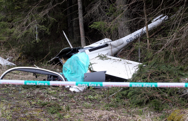 The wreckage of the glider at Lysá Poľana, Slovakia. Photo: PAP/Grzegorz Momot