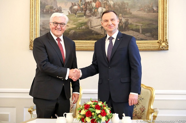 Polish President Andrzej Duda with German counterpart Frank-Walter Steinmeier in Warsaw on Friday. Photo: KPRP