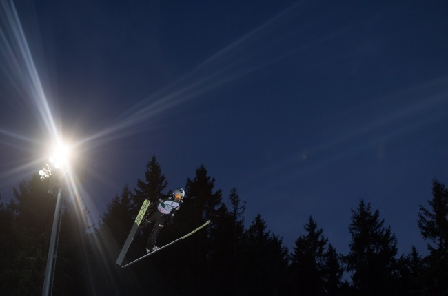 Poland's Kamil Stoch during the men's team competition at the FIS Ski Jumping World Cup in Titisee-Neustadt, Germany. Photo. EPA/DANIEL KOPATSCH