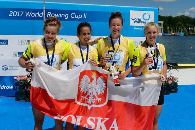 Poland's Agnieszka Kobus, Marta Wieliczko, Maria Springwald and Katarzyna Zillmann, winners of the women's quadruple sculls at the rowing world cup in Poznań. Photo: PAP/Jakub Kaczmarczyk.