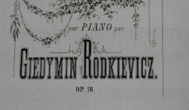 Адно з выданьняў твораў Гедыміна Праспэра Радкевіча. Фрагмэнт вокладкі. ХІХ ст.