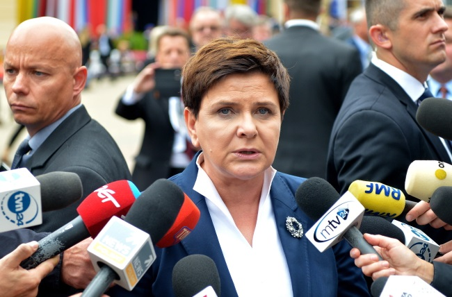 PM Beata Szydło talks to reporters during the Economic Forum in Krynica on Wednesday. Photo: PAP/Darek Delmanowicz