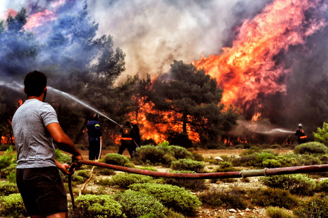 Firefighters and volunteers try to extinguish a wildfire raging in Verori, southern Greece, earlier this week. Photo: EPA/VASSILIS PSOMAS