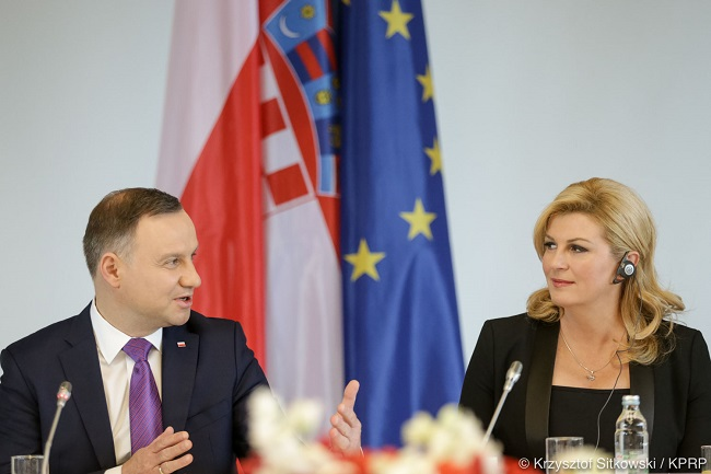 Polish President Andrzej Duda with his Croatian counterpart Kolinda Grabar-Kitarovic. Photo: KPRP