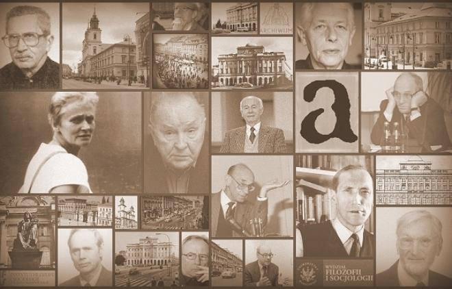 Колаж з портретами представників Варшавської школи істориків ідеї