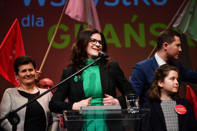 Кандидат на должность мэра Гданьска Александра Дулкевич (в центре) во время избирательного вечера