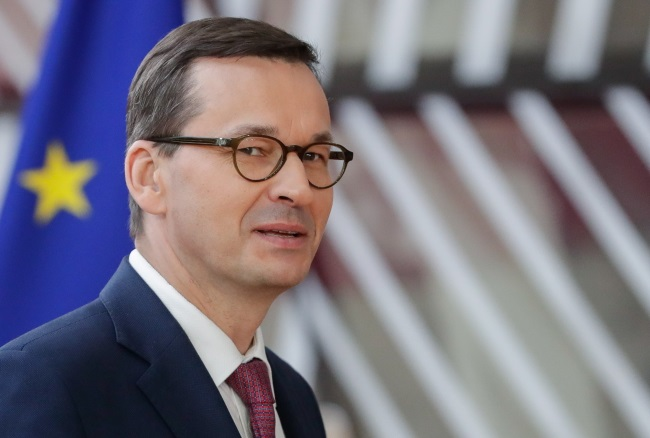Poland's Prime Minister Mateusz Morawiecki arrives for a summit of European Union leaders in Brussels, Belgium, on Thursday.