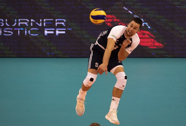 Poland's Michał Kubiak in action against Puerto Rico on Thursday. Photo: EPA/VASSIL DONEV