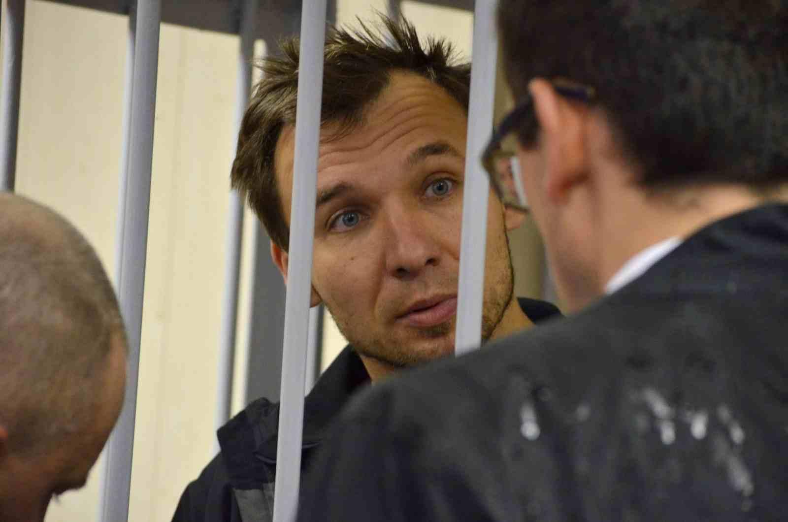 Tomasz Dziemianczuk at the court in Murmansk. Photo: EPA/Angela Kolyada
