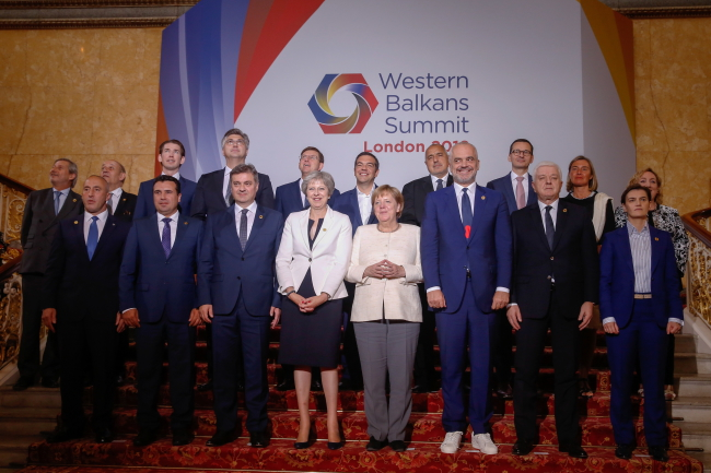 Attendees of the Western Balkans Summit 2018. Photo: EPA/LUKE MACGREGOR