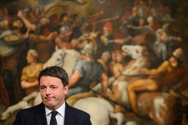 The Italian Prime Minister, Matteo Renzi, speaks at the Palazzo Chigi in Rome, Italy, on Sunday after the referendum on constitutional reform. Photo: EPA/GREGOR FISCHER