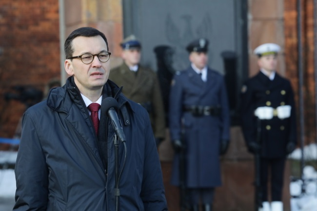 Prime Mateusz Morawiecki speaks during ceremonies in Warsaw on Monday to mark 155 years since the outbreak of Poland's 1863 January Uprising against czarist Russia. Photo: PAP/Tomasz Gzell