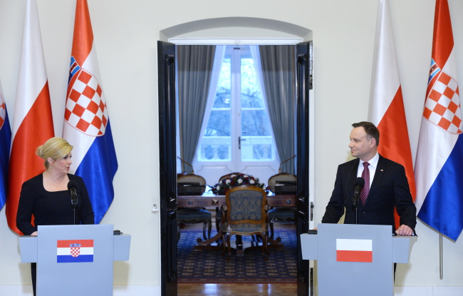 President of Croatia Kolinda Grabar-Kitarović (L) and President of Poland Andrzej Duda. Photo: PAP/Jacek Turczyk